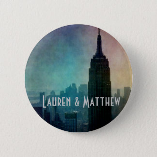 Empire State Building at colorful dusk Pinback Button