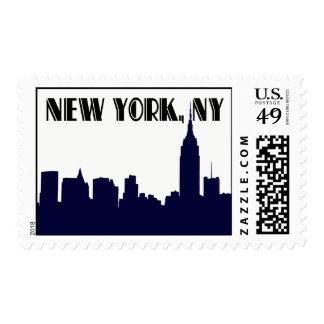 Empire State Building azul de la silueta del Timbre Postal