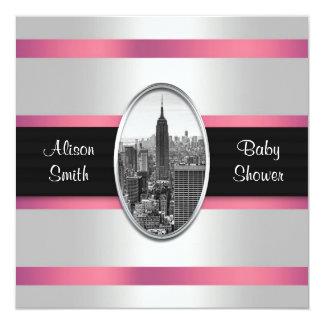 Empire State Building Baby Shower Invite White Pnk