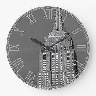 Empire State Building Black and White Photo Large Clock