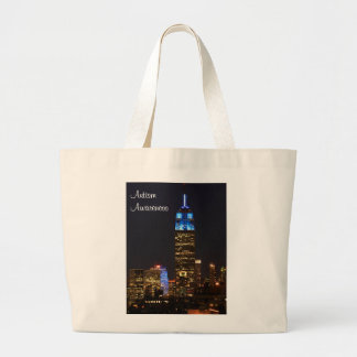 Empire State Building Blue for Autism 2012 Large Tote Bag