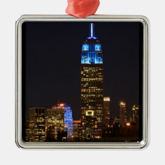 Empire State Building Blue for Autism 2012 Square Metal Christmas Ornament