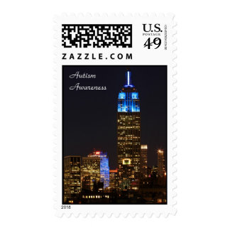 Empire State Building Blue for Autism 2012 Postage Stamp