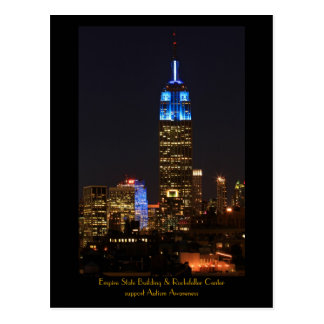 Empire State Building Blue for Autism 2012 Postcard