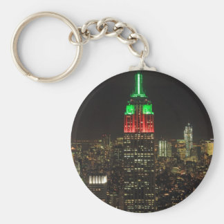 Empire State Building Christmas Colors at night 01 Basic Round Button Keychain