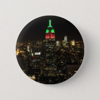 Empire State Building Christmas Colors at night 01 Button