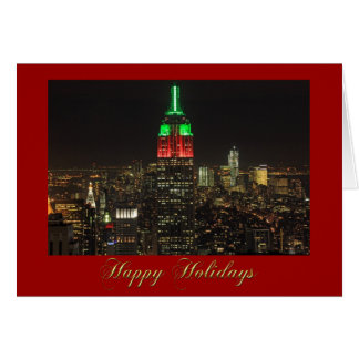 Empire State Building Christmas Colors at night 01 Card