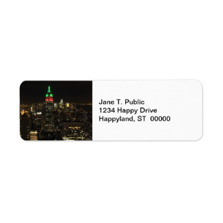 Empire State Building Christmas Colors at night 01 Label