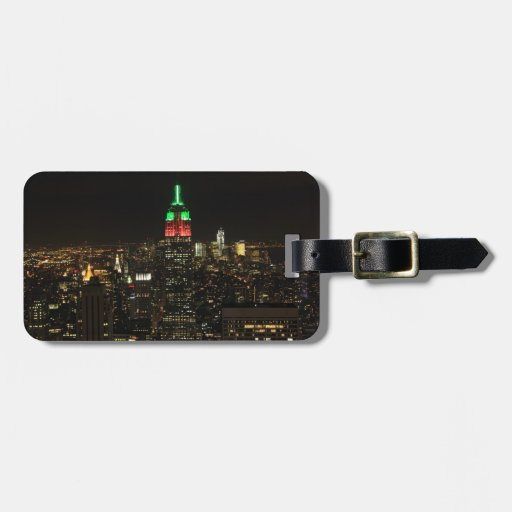 Empire State Building Christmas Colors at night 01 Travel Bag Tag
