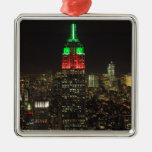 Empire State Building Christmas Colors at night 01 Metal Ornament