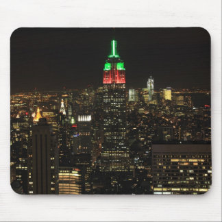 Empire State Building Christmas Colors at night 01 Mouse Pad