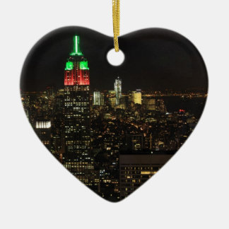 Empire State Building Christmas Colors at night 01 Double-Sided Heart Ceramic Christmas Ornament