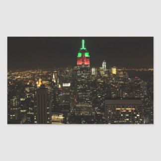 Empire State Building Christmas Colors at night 01 Rectangular Sticker