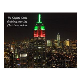 Empire State Building Christmas Colors at night Post Cards