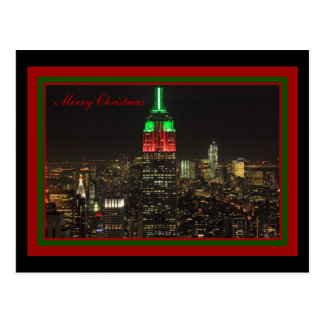 Empire State Building Christmas Colors at night Postcard