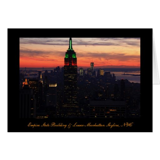 Empire State Building - Christmas Colors Sunset 01 Greeting Cards