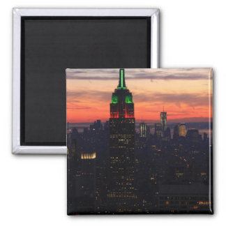 Empire State Building - Christmas Colors Sunset 01 Magnets