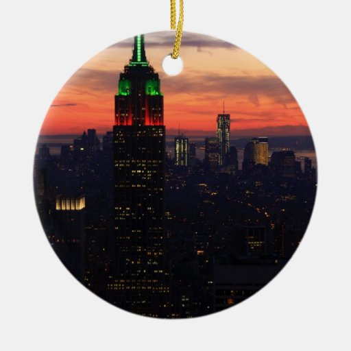 Empire State Building - Christmas Colors Sunset 01 Double-Sided Ceramic Round Christmas Ornament