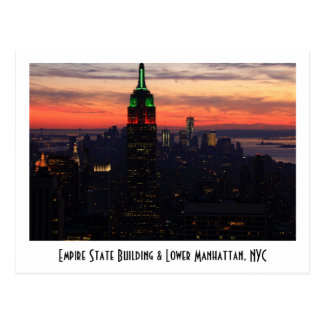 Empire State Building - Christmas Colors Sunset 01 Postcard