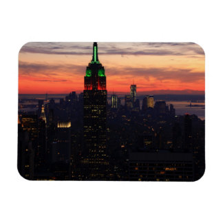 Empire State Building - Christmas Colors Sunset 01 Flexible Magnet