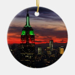 Empire State Building - Christmas Colors Sunset 02 Ceramic Ornament
