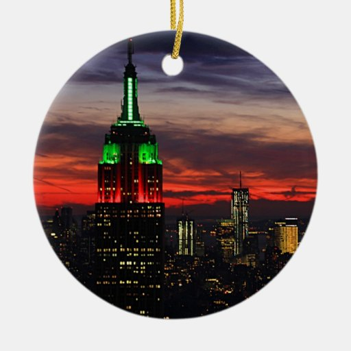 Empire state building christmas colors sunset ceramic