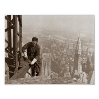 Empire State Building Construction - Vintage Photo Poster