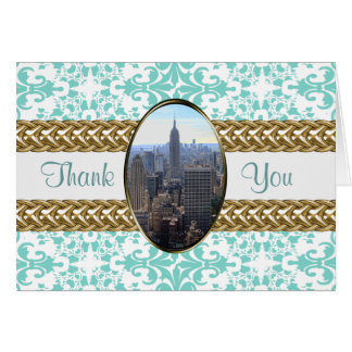 Empire State Building Damask Wedding Thanks #01 Stationery Note Card
