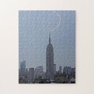Empire State Building Daytime Lightning Strike 001 Jigsaw Puzzle
