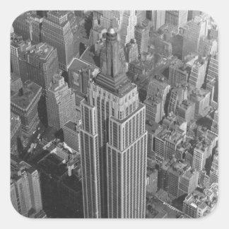 Empire State Building de la antena del vintage del Pegatina Cuadrada