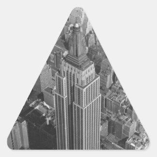 Empire State Building de la antena del vintage del Pegatina Triangular