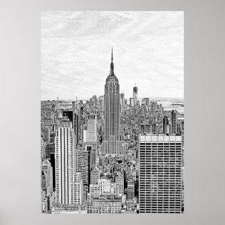 Empire State Building del horizonte de la ciudad d Poster
