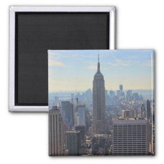 Empire State Building del horizonte de la ciudad Imán Cuadrado