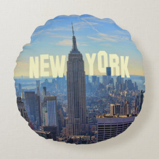 Empire State Building del horizonte de NYC, Cojín Redondo