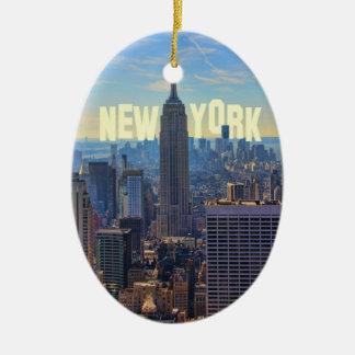 Empire State Building del horizonte de NYC comerc Adorno De Navidad