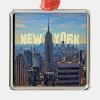 Empire State Building del horizonte de NYC comerc Ornamentos De Reyes Magos