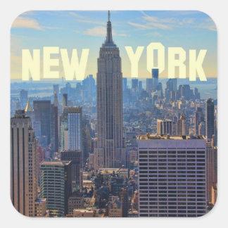 Empire State Building del horizonte de NYC comerc Calcomanía Cuadradase