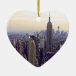 Empire State Building del horizonte de NYC, WTC 4 Ornamento De Navidad