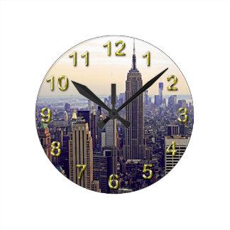Empire State Building del horizonte de NYC, WTC 4 Reloj De Pared