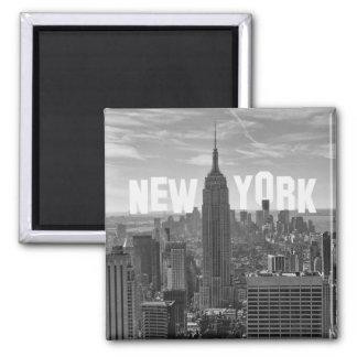 Empire State Building del horizonte de NYC, WTC BW Imán Cuadrado