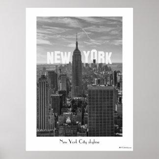 Empire State Building del horizonte de NYC, WTC BW Impresiones