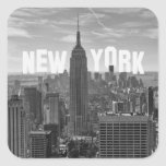 Empire State Building del horizonte de NYC, WTC BW Calcomanías Cuadradass