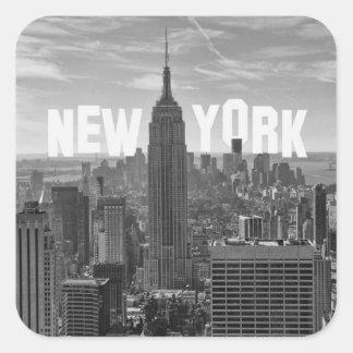 Empire State Building del horizonte de NYC, WTC BW Pegatina Cuadrada