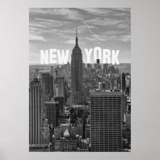 Empire State Building del horizonte de NYC, WTC BW Póster