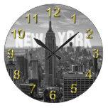 Empire State Building del horizonte de NYC, WTC BW Reloj De Pared