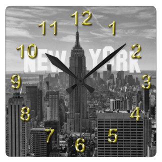 Empire State Building del horizonte de NYC, WTC BW Reloj Cuadrado