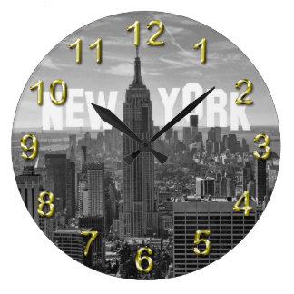 Empire State Building del horizonte de NYC, WTC BW Reloj Redondo Grande