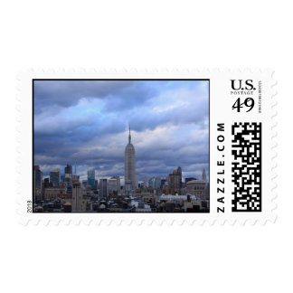 Empire State Building Dramatic Clouds Stamp