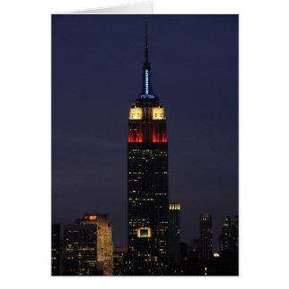 Empire State Building en el azul blanco rojo, roca Tarjeta De Felicitación