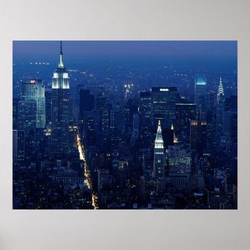Empire State Building en la noche, New York City Posters